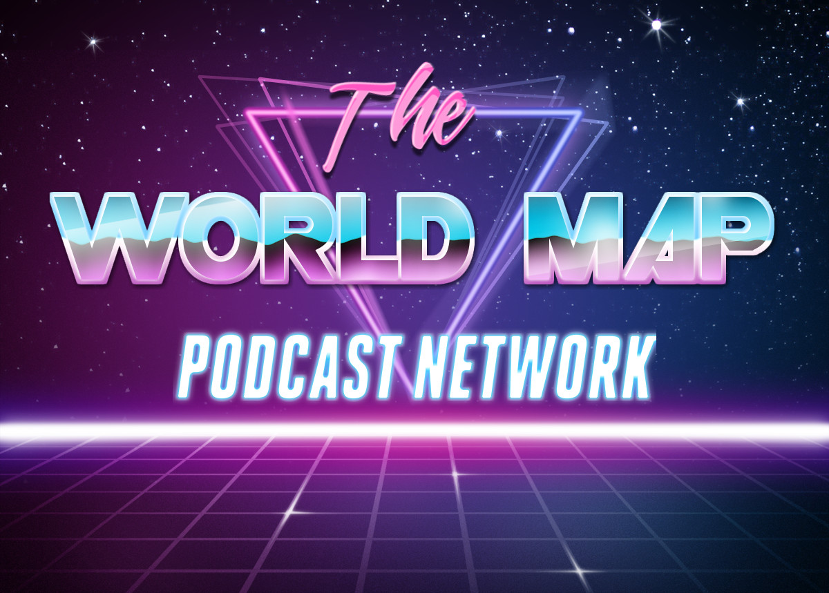 the world map podcast network 80s style graphic - thanks to capsule digital for the template
