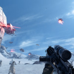 an at at on hoth and a first person view from a stormtrooper with darth vader standing to his left