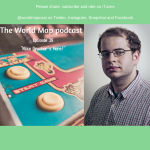 arcade cabinet and mike drucker in featured art for episode 28 of the world map podcast