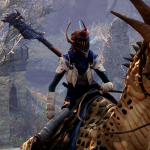 avatar rides on a goofy looking dragon in dragon age inquisition