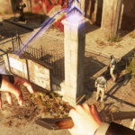 first person view of emily holding a sword and casting far reach spell while falling from above in dishonored 2