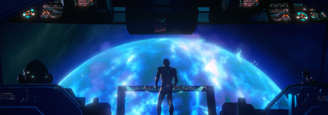 graphic of the bridge in a ship in mass effect