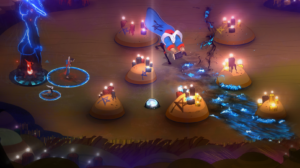 characters from pyre on a battlefield with a body of water