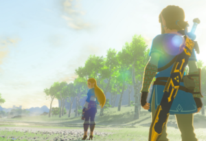 link and zelda in a field